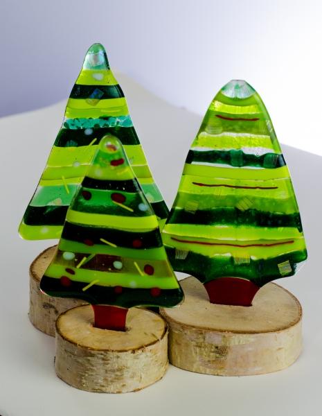Fused glass Christmas trees
