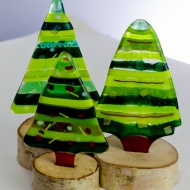 Fused glass Christmas trees