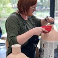 Pottery class, Glazing